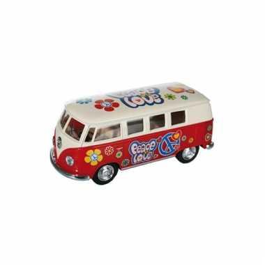 Modelbusje vw t1 rood hippie 12,5 cm