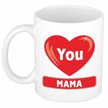 Moederdag i love you mama beker / mok keramiek 300 ml