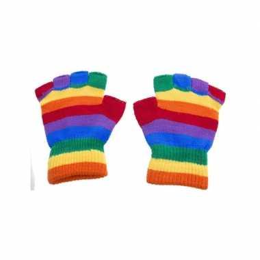 Mofjes handschoenen in regenboog kleur one size