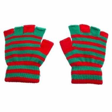 Mofjes handschoenen in rood groenkleur one size