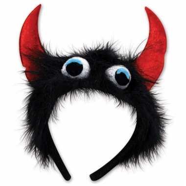 Monster verkleed diadeem zwart/rood