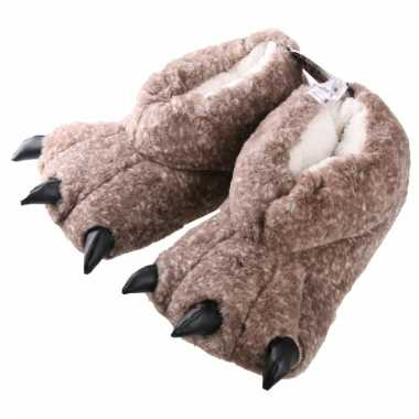 Monsterpoot dames pantoffels beige