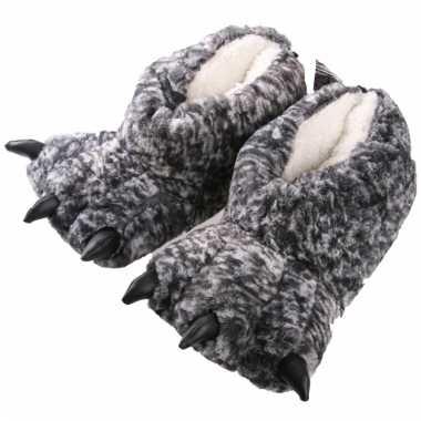 Monsterpoot pantoffels grijs