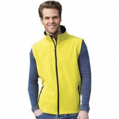 Mouwloze softshell sport vesten geel voor heren