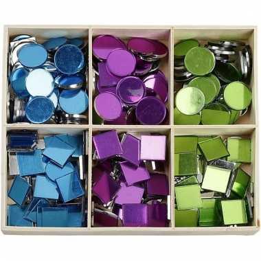 Mozaiek spiegel tegels blauw/paars/groen 15 mm