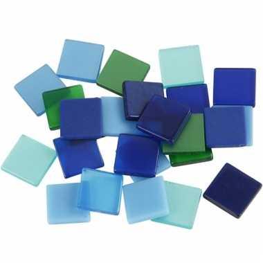 Mozaiek tegels groen/blauw 10x10 mm
