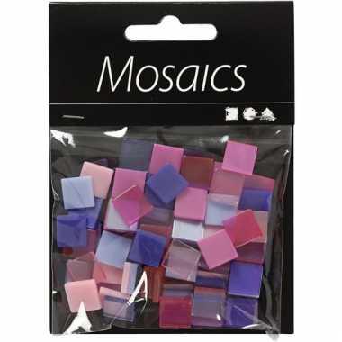 Mozaiek tegels paars/roze 10x10 mm