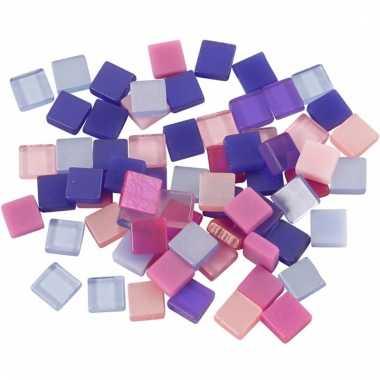 Mozaiek tegels paars/roze 5x5 mm