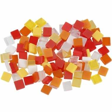 Mozaiek tegels rood/oranje 5x5 mm