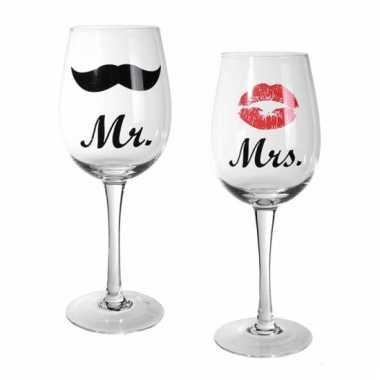 Mr & mrs wijnglazen 430 ml