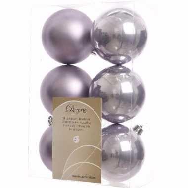 Mystic christmas kerstboom decoratie kerstballen lila 6 stuks