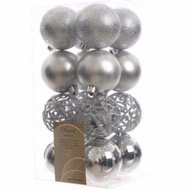 Mystic christmas kerstboom decoratie kerstballen zilver 16 stuks