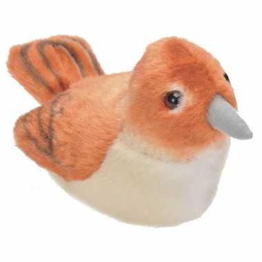 Nachtegaal vogeltje met geluid van pluche 13 cm
