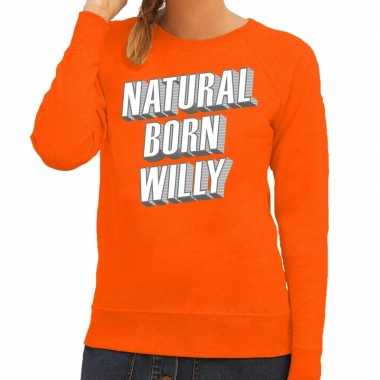 Natural born willy sweater oranje dames