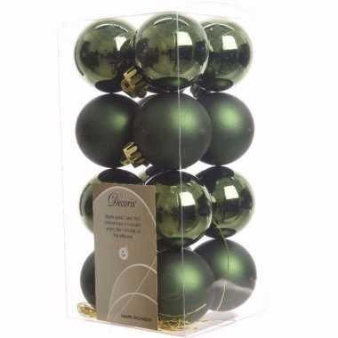 Nature christmas kerstboom decoratie kerstballen groen 16 stuks