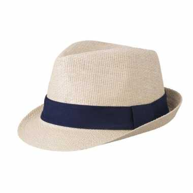 Naturel gevlochten hoedje met navy band
