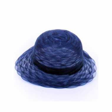 Navy blauwe ronde hoed voor dames