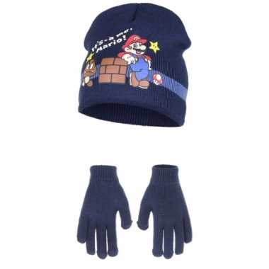 Navy blauwe super mario winteraccessoires