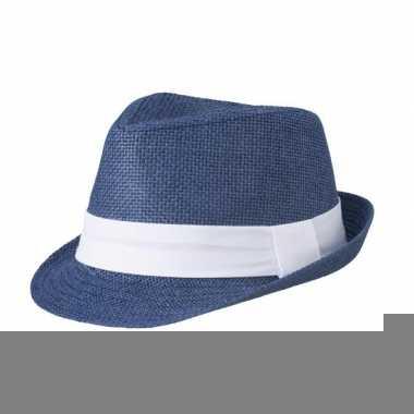 Navy gevlochten hoedje met witte band