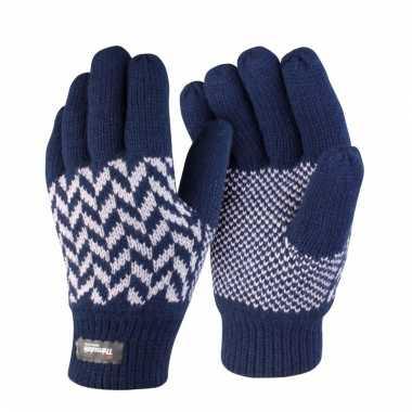 Navy met grijze result handschoenen