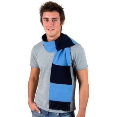 Navy met lichtblauw gestreepte supporters sjaal
