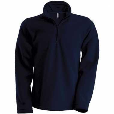 Navy micro polar fleece sweater voor heren