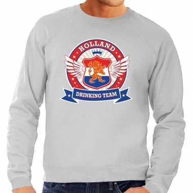 Nederland drinking team sweater grijs rwb heren