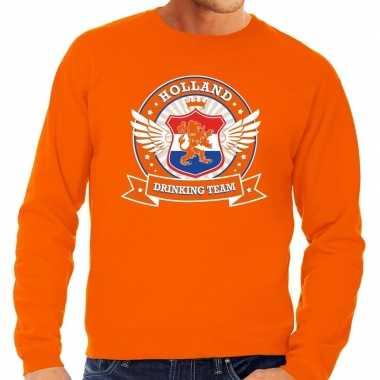 Nederland drinking team sweater oranje heren