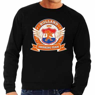 Nederland drinking team sweater zwart heren