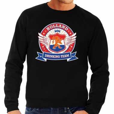 Nederland drinking team sweater zwart rwb heren