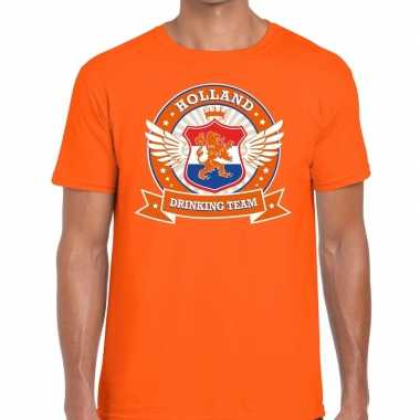 Nederland drinking team t-shirt oranje rwb heren