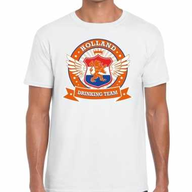Nederland drinking team t-shirt wit heren