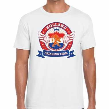 Nederland drinking team t-shirt wit rwb heren