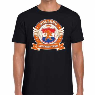 Nederland drinking team t-shirt zwart heren