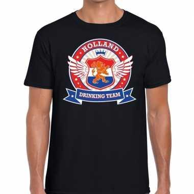 Nederland drinking team t-shirt zwart rwb heren