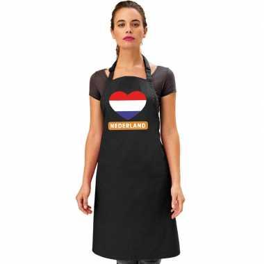 Nederlandse vlag in hart keukenschort/ barbecueschort zwart heren en
