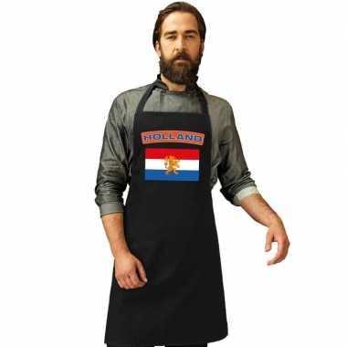 Nederlandse vlag keukenschort/ barbecueschort zwart heren en dames
