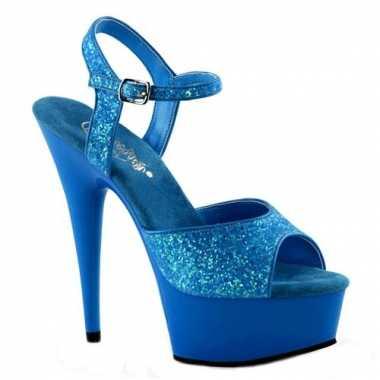 Neon blauwe hoge glitter hakken caydence