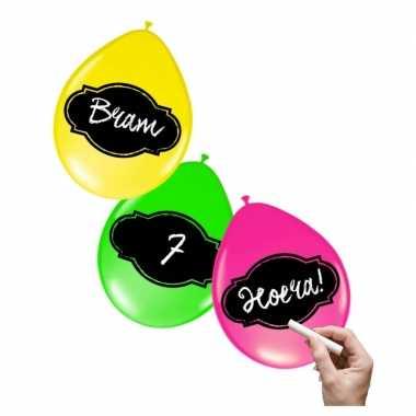 Neon gekleurde ballonnen 6 stuks