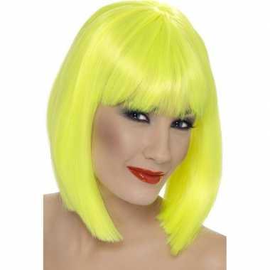 Neon gele korte damespruik