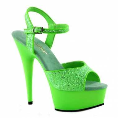 Neon groene hoge glitter hakken caydence