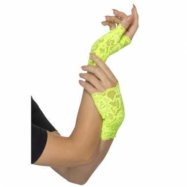 Neon groene verkleed handschoenen zonder vingers