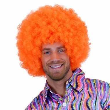Neon oranje afro pruik