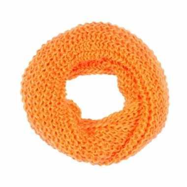 Neon oranje gebreide ronde col sjaal voor volwassenen
