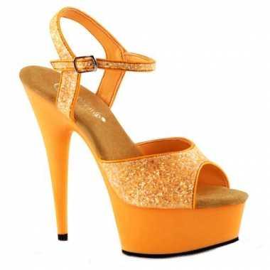 Neon oranje hoge glitter hakken caydence