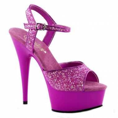 Neon paarse hoge glitter hakken caydence