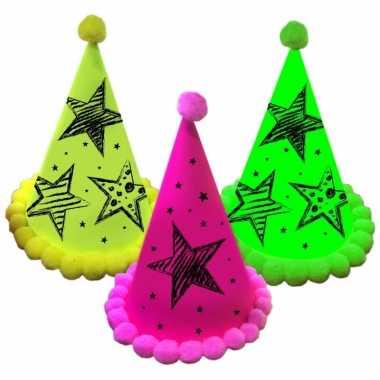 Neon partyhoedjes 3 kleuren