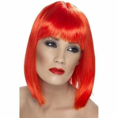 Neon rode korte damespruik