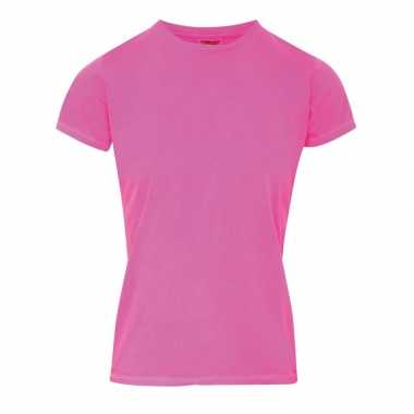Neon roze dames t-shirts met ronde hals