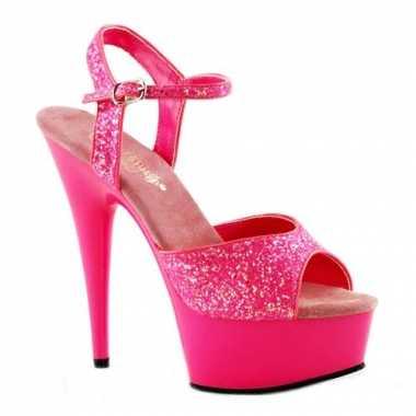 Neon roze hoge glitter hakken caydence